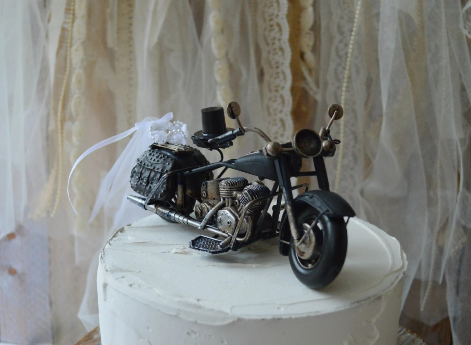motorcycle wedding harley davidson wedding rings Motorcycle wedding cake topper motorcycle topper Harley rider themed wedding groom s cake topper bride and groom rider ring holder metal
