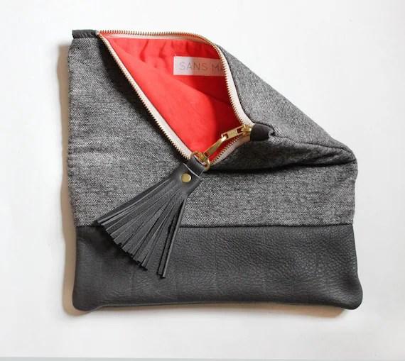 ELODIE leather clutch, fold over clutch in dark grey