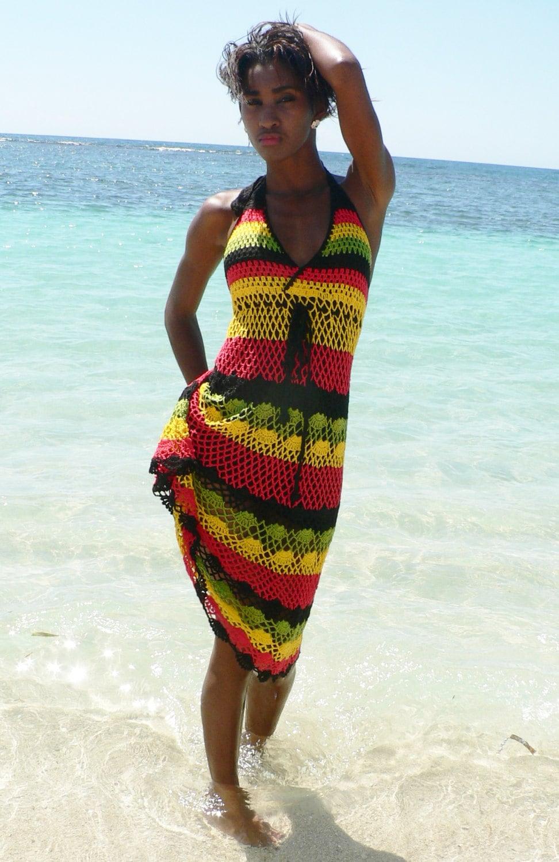 jamaica jamaican wedding dresses Handmade crochet dress 02 Jamaican Rasta colors