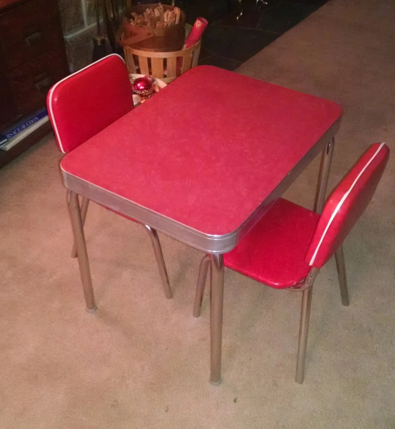 s child size retro vintage red s kitchen table zoom