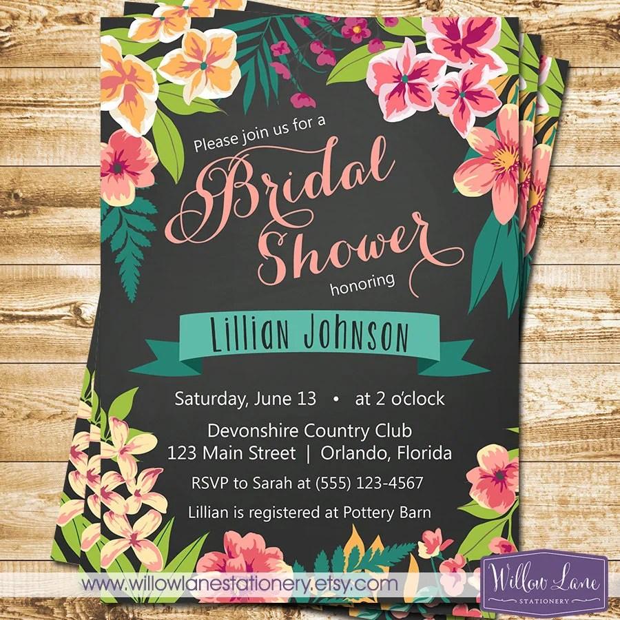chalkboard tropical bridal shower etsy wedding shower invitations Invite Wedding Shower zoom
