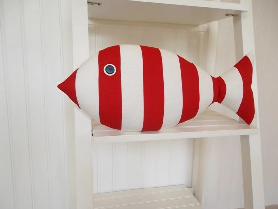 Red Fish Pillow - Red and White Striped Pillow - Kids Nautical Decor - July 4th Decor