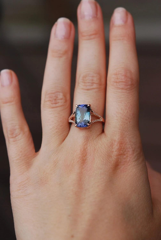 tanzanite ring rose gold engagement ring tanzanite wedding rings Sapphire Engagement Rings by EidelPrecious