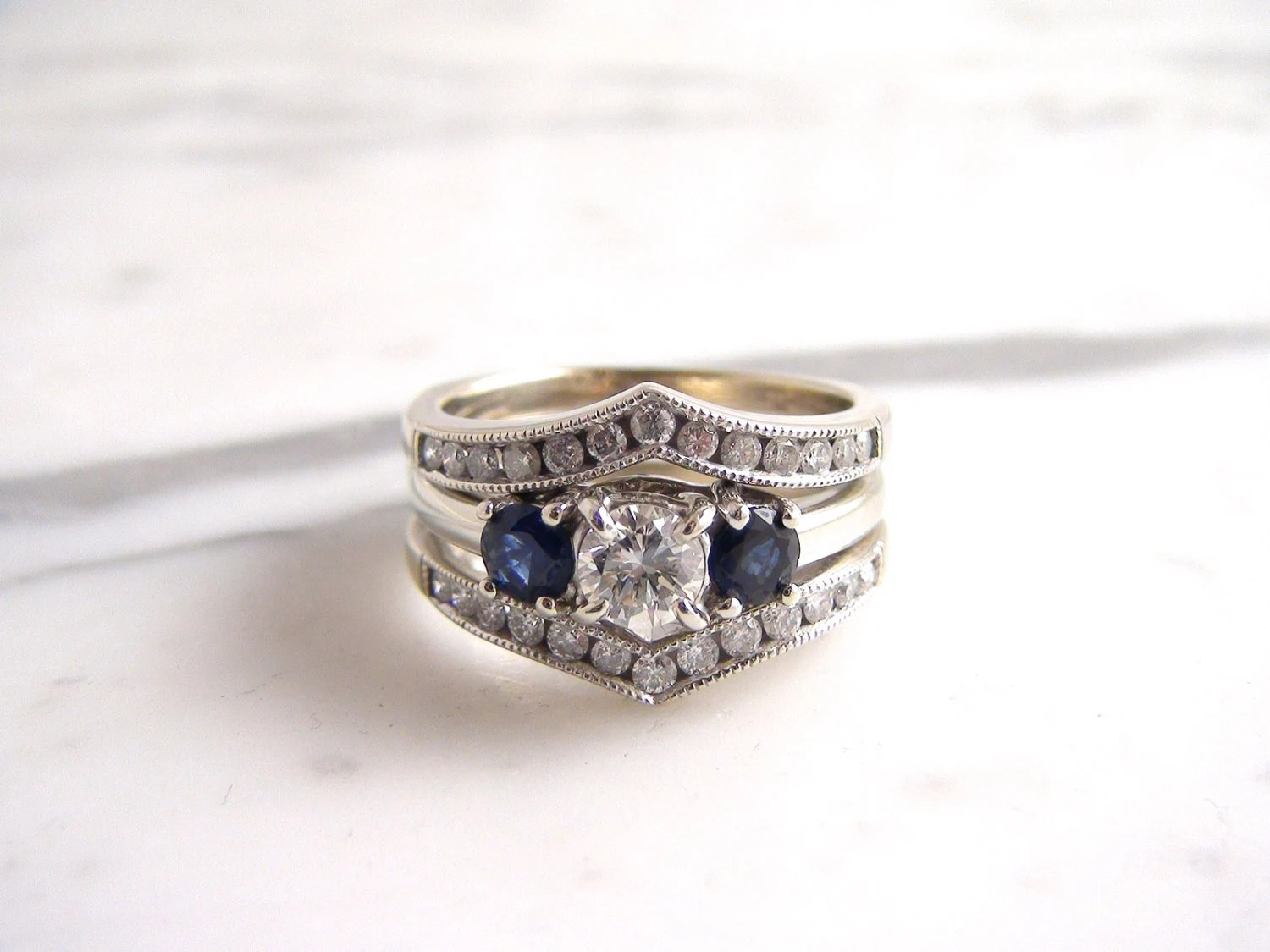 sapphire ring guard wedding ring guard Vintage Diamond and Sapphire Engagement Ring 14K White Gold Wedding Set Ring Guard 3 Stone