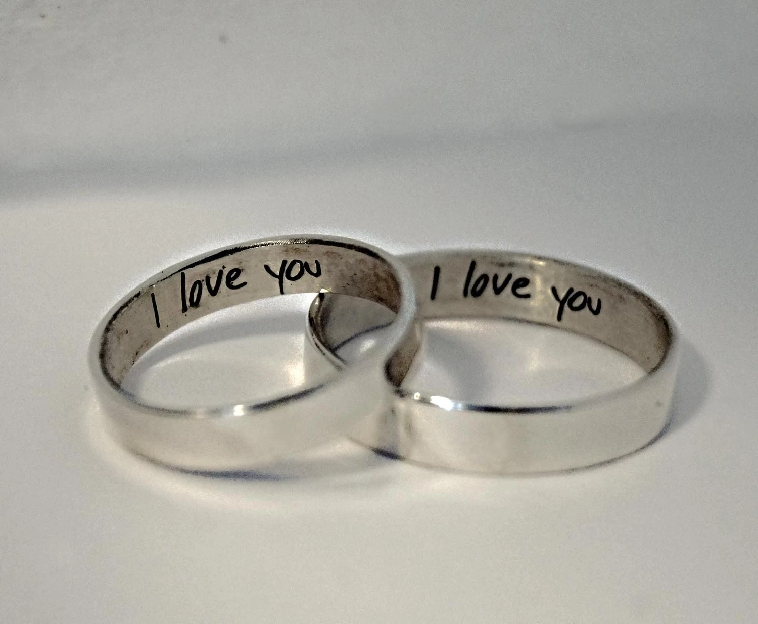 handwriting ring wedding ring engraving His and hers handwriting rings handwritten rings Rings for two custom personalized inscribed engraved wedding rings couples ring