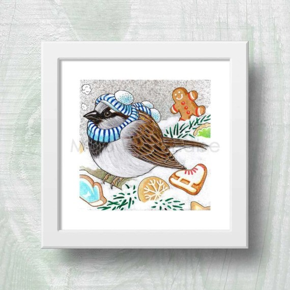 winter sparrow print to frame hand painted cards