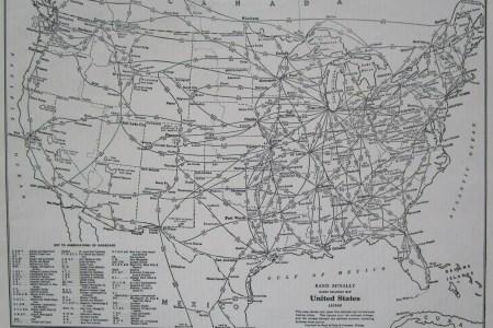 1949 usa railroad map. 1940s united states railway map. rand