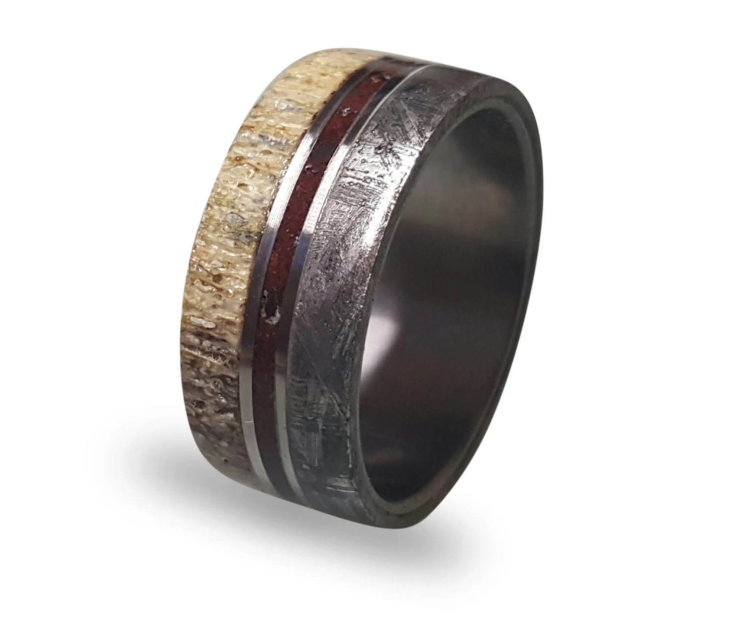 meteorite ring titanium ring with gibeon meteorite wedding ring zoom