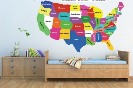 united state map decal usa map sticker state map wall
