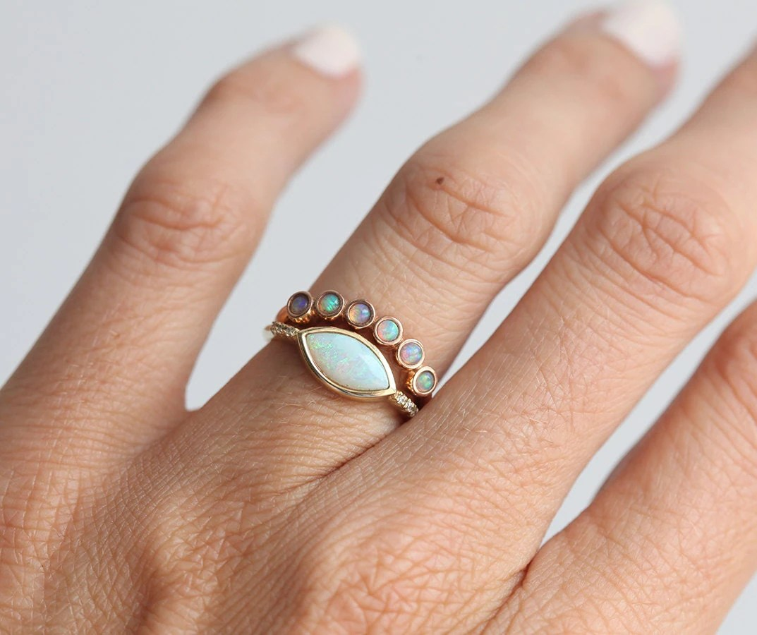 opal wedding band wedding ring with band Opal Ring Opal Wedding Ring Opal Wedding Band Rose Gold Opal Ring Stacking Wedding Ring Stacking Wedding Band