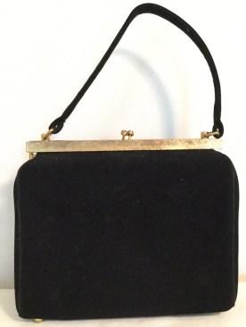 Vintage Black Velvet Handbag - 1950s Purse by BLOCK