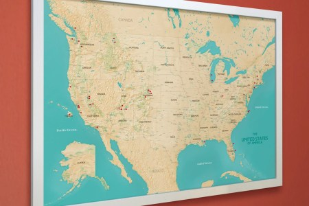 united states push pin map us national parks map white