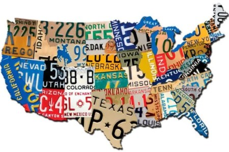 usa license plate map metal art sign united states 19 x 13