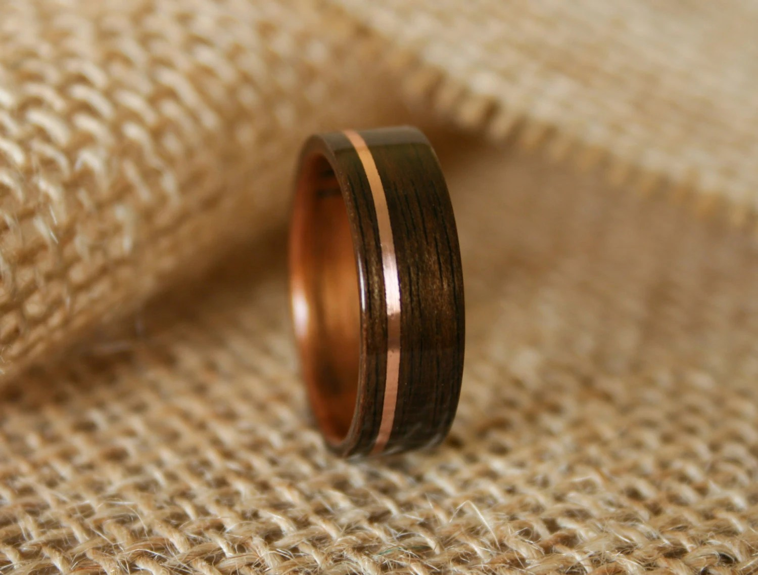 mens wedding band flexible wedding ring Men s Wooden Wedding Band with 14k Rose Gold Inlay in Macassar Ebony Wood with Koa Wood Lining Hand Crafted Wooden Ring
