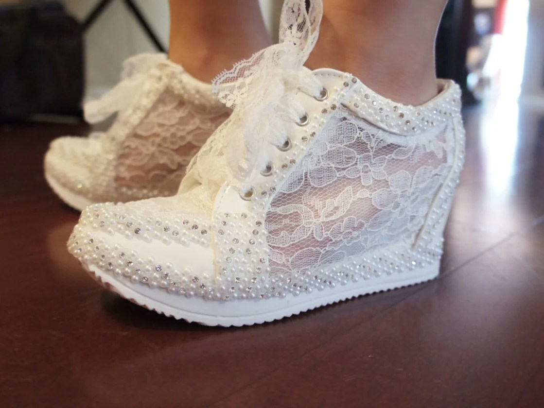 ivory wedges wedding shoes wedges Wedding Shoes Wedge Lace High Heeled Sneakers Tennis Shoes in White or Ivory Alexa