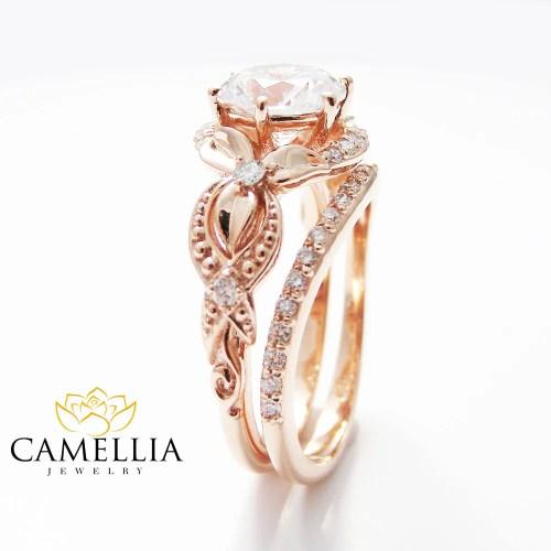 rose gold ring rose gold wedding rings Unique Moissanite Engagement Ring Set 14K Rose Gold Engagement Rings Vintage Floral Moissanite Rings