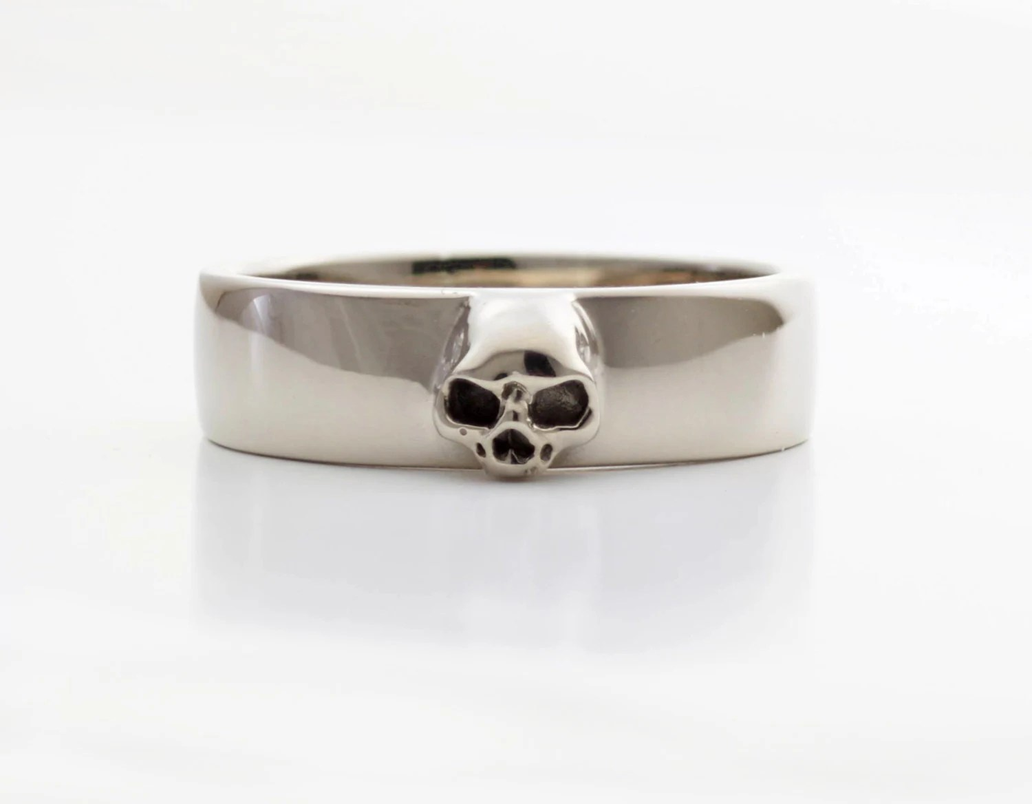 mens skull wedding ring white gold mens skull wedding rings Mens Skull Wedding Ring White Gold Grooms Skull Ring Goth Groom Ring Small Mens Skull Ring Psychobilly Wedding Band Wedding Set All Sizes