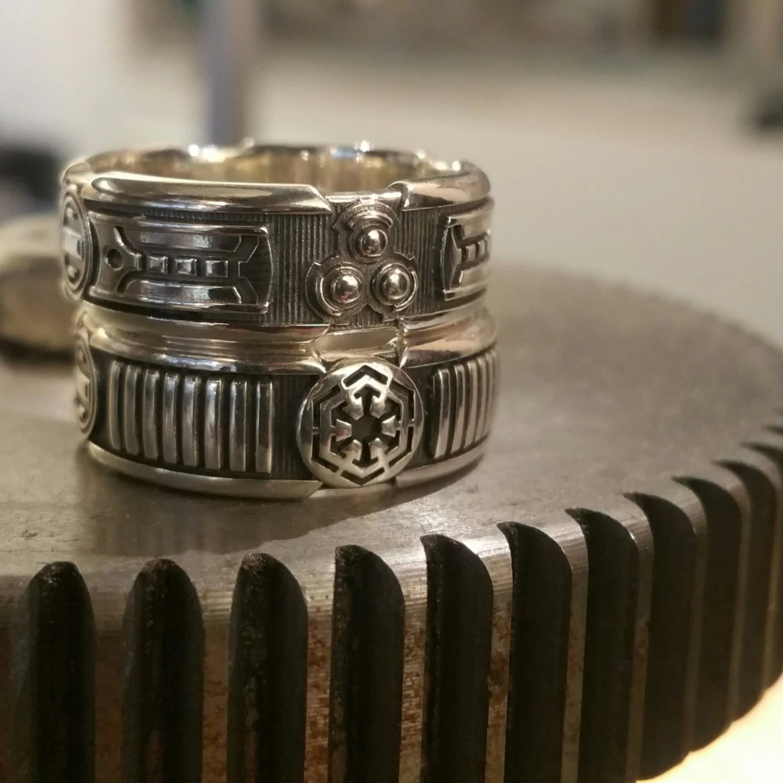 lightsaber ring star wars wedding rings Custom Lightsaber Ring Star Wars Sci Fi Mens Sterling Silver Wedding Ring Geek Engagement