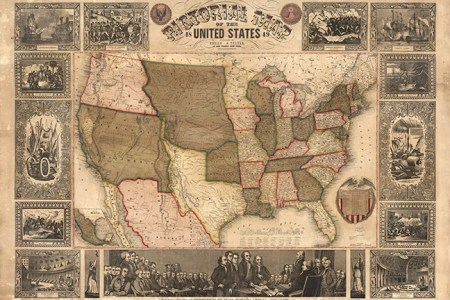 pictorial map of the united states 1849. atwood j.m.