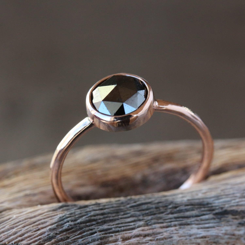 black wedding ring wedding rings black Rose Gold Black Diamond Ring Rose Cut Diamond 14k Rose Gold Band Black Diamond Engagement Ring Conflict Free Handmade Jewelry
