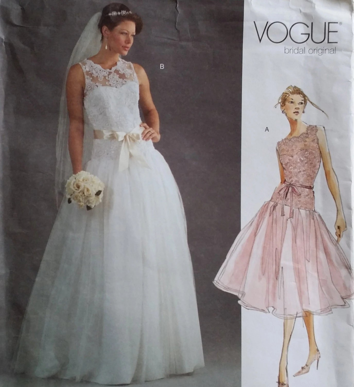 vogue bridal original size 12 16 wedding dress sewing patterns VOGUE Bridal Original Size 12 16 Drop Waist Lace Ballerina Tulle Wedding Gown Sewing Pattern Uncut Rare
