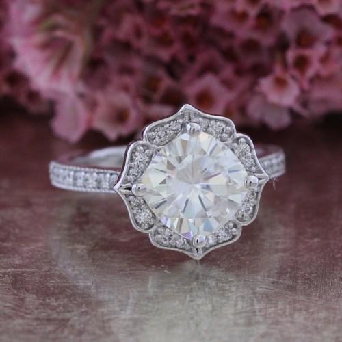 vintage floral moissanite engagement wedding ring zoom
