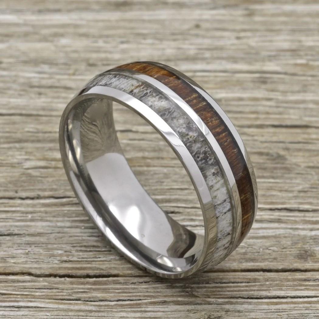 deer ring deer wedding bands Titanium deer Antler Ring with Koa Wood Inlay 8mm Comfort Fit Wedding Band