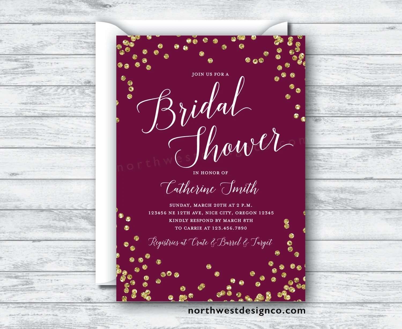 purple gold invite bling wedding invitations Maroon Gold Bridal Shower Invitation Burgundy Merlot Invite Purple Gold Bling Wedding Shower Invitation Digital File or Printed Invites
