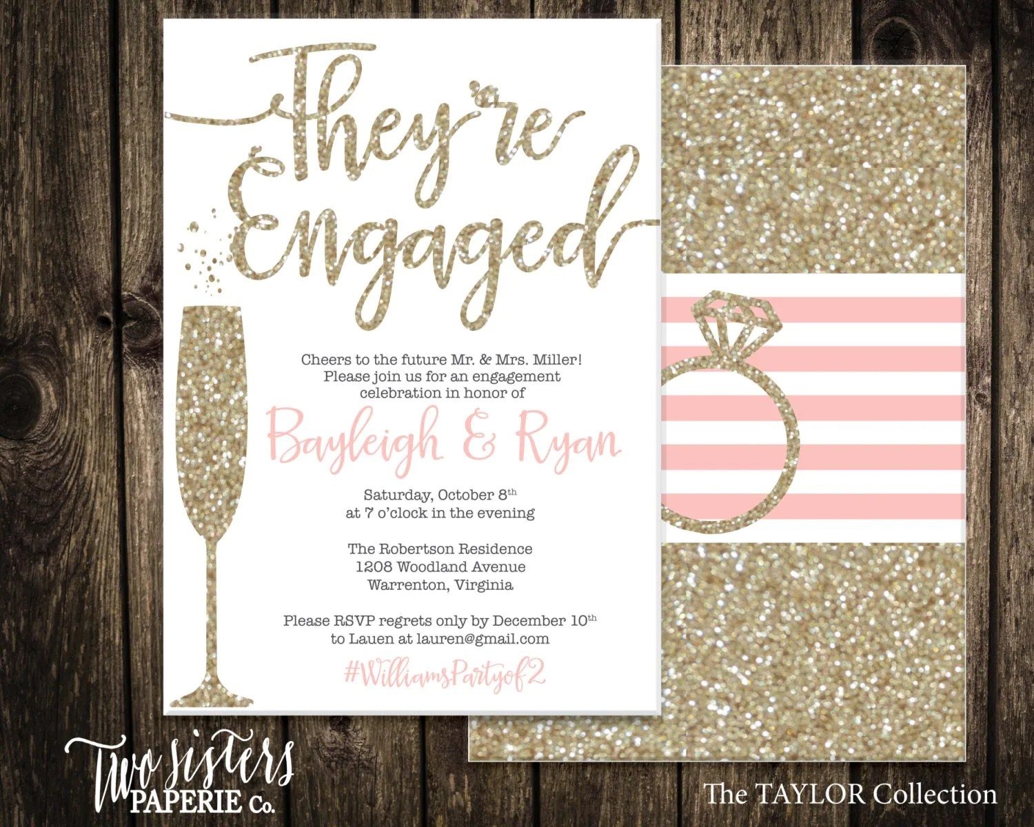 gold wedding invite etsy wedding invitations Printable Engagement Party Invitation TAYLOR Collection Gold Glitter Engagement Invitation They re Engaged