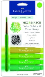 Faber-Castell Design Memory Craft Gelatos Color & Clear Stamp Set, Acid-Free Pigment Sticks for Mixed Media Stamping, GREEN