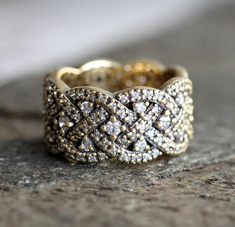 braided wedding band infinity diamond wedding band Braided Wedding Ring Infinity Diamond Ring Diamond Wedding Ring Wide Diamond Band Woven Ring Vintage Wedding Ring