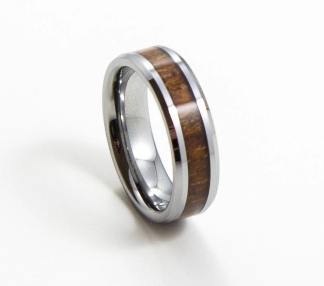 6mm tungsten ring tungsten hammered wedding band Elegant Koa Wood Thin Men s Wedding Band 6MM Men s Ring Tungsten Carbide Ring Wood Inlay Sizes 7 13