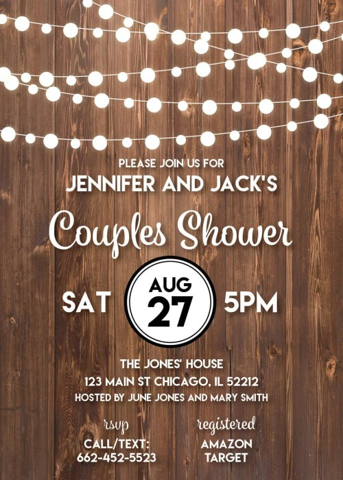 State Couples Shower Invitation Rustic Wedding String Lights Couples Bridalshower Wedding Shower Couples Shower Invitation Rustic Wedding String Lights Couples