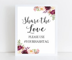 Engrossing Printable Share Love Burgundy Wedding Hashtag Instagram Wedding Printable Share Love Burgundy Wedding Hashtag Sign Wedding Hashtag Sign Download Wedding Hashtag Sign Ideas