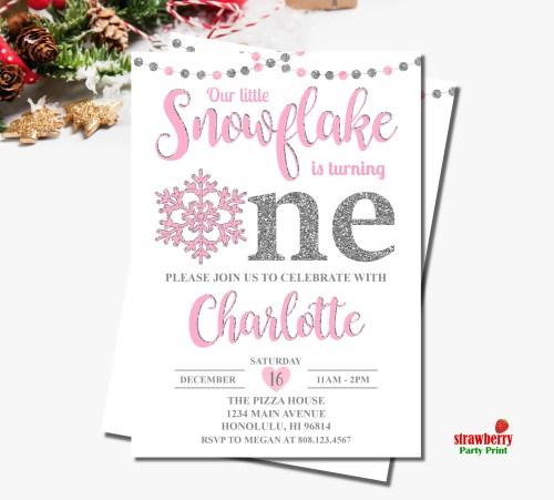 Medium Of Winter Onederland Invitations