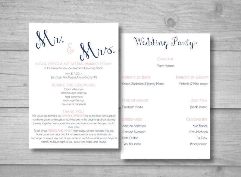 Large Of Diy Wedding Programs