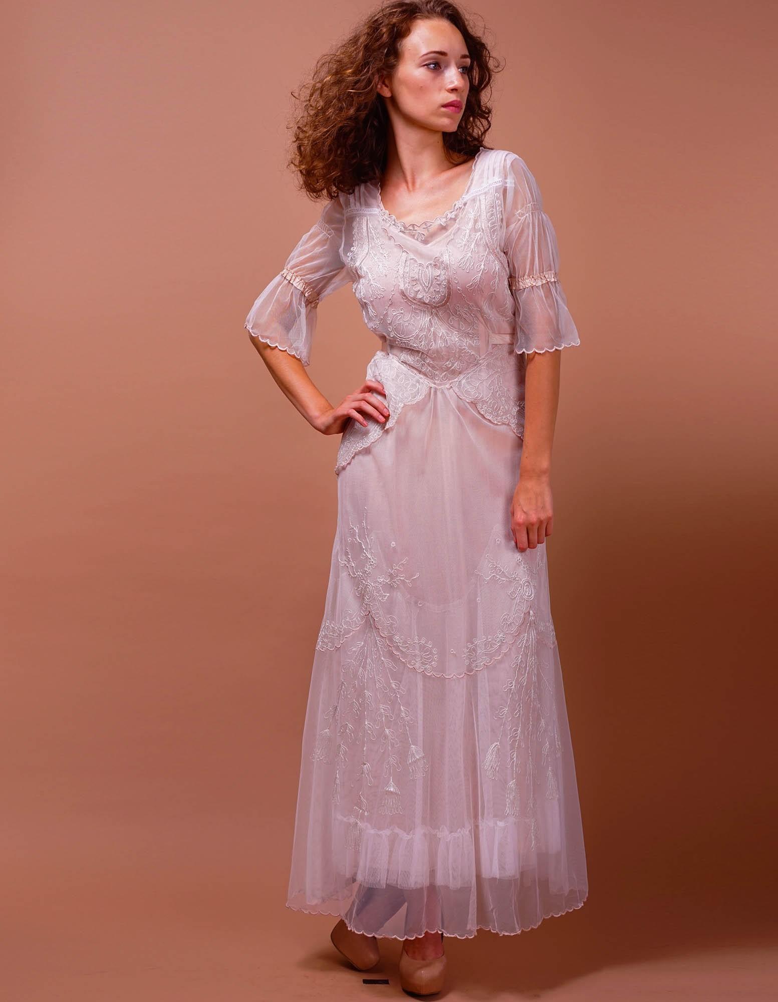 Joyous Ivoryblush By Nataya Vintage Inspired Dresses Cheap Kids Vintage Inspired Dresses Edwardian Vintage Inspired Wedding Dress wedding dress Vintage Inspired Dresses
