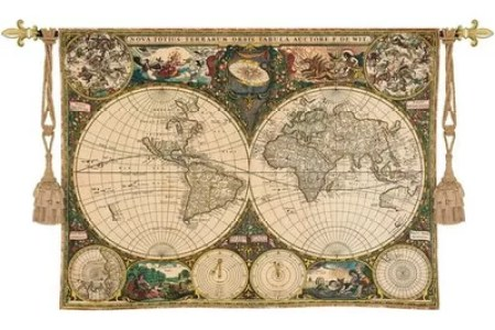 Map wall hangings quentin horn world map wall hanging c fine art tapestries old world map wall hanging gumiabroncs Gallery