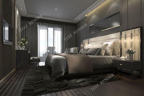 Medium Of Dark Modern Bedroom
