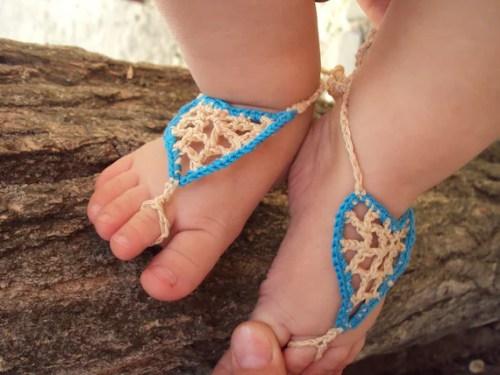 Baby Barefoot Sandals/ Crochet baby sandals- -Baby heart sandals, crochet heart