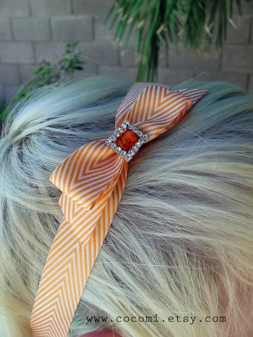 Headband, Chevron Orange and White Bow