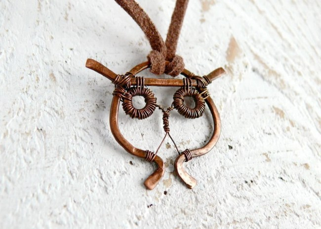 Owl necklace - Patinated copper, oxidized, woodland, rustic, wirewrapped necklace