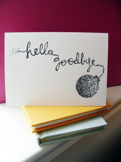 Hello Goodbye--3 blank cards with envelopes