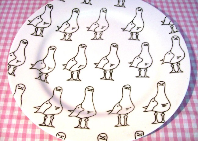 Porcelain Serving Plate featuring a hand drawn seagull pattern