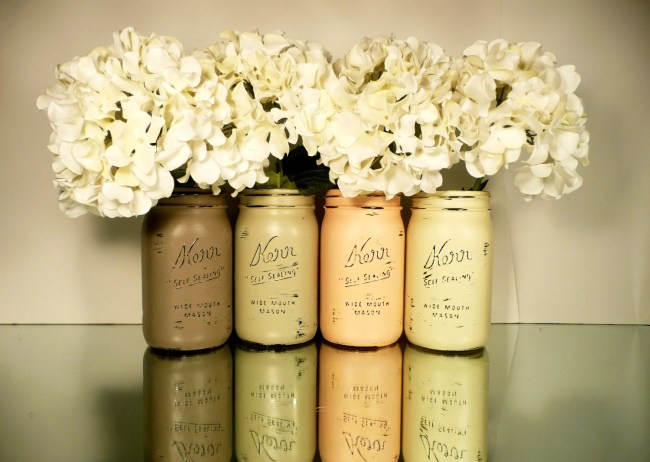 FALL Wedding and Home Decor - Painted and Distressed Shabby Chic Mason Jars - Pumpkin- Wide Mouth