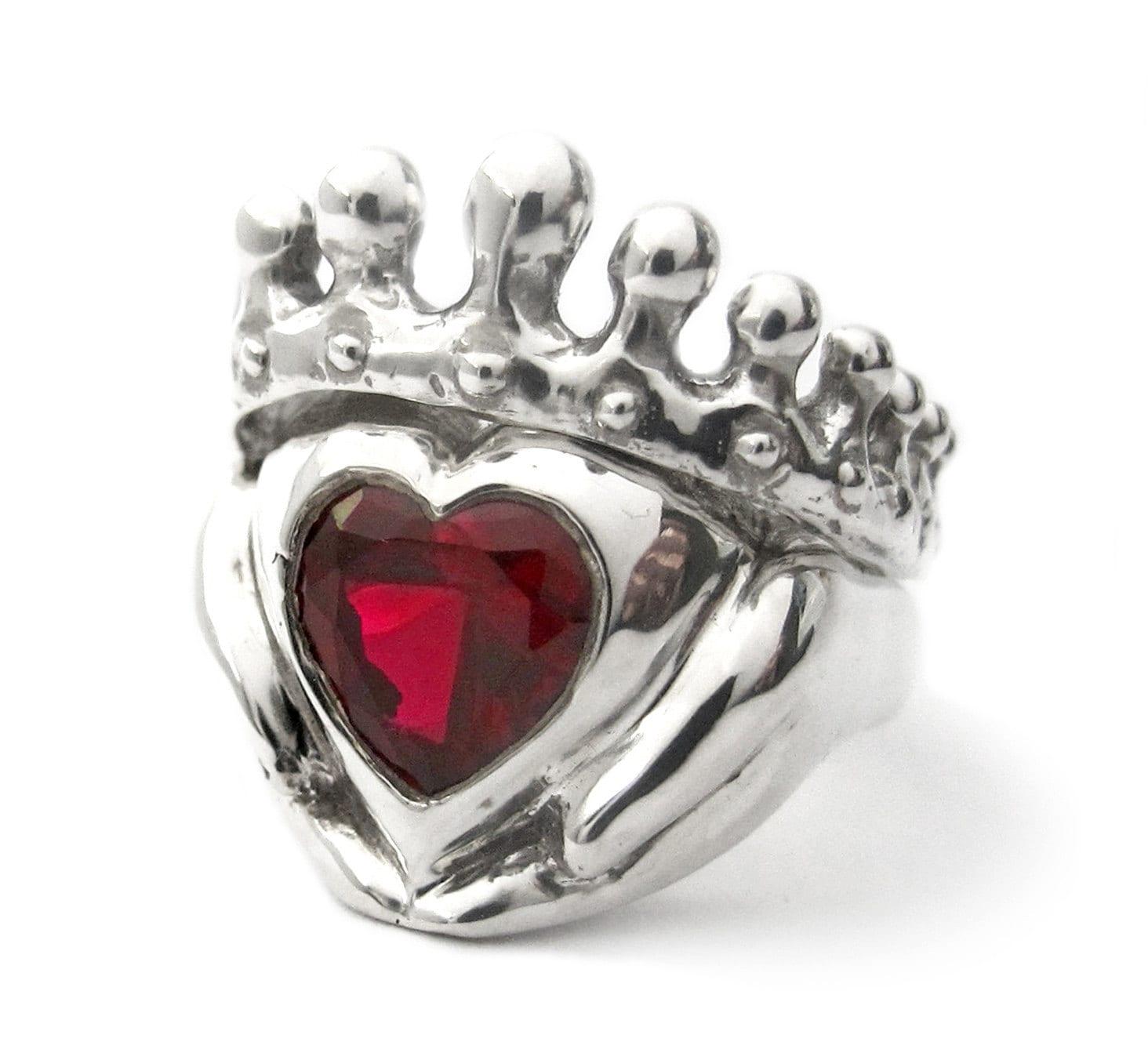 Celtic Engagement Rings Canada irish wedding rings Big Red Heart Claddagh Wedding Set Engagement and wedding ring Celtic