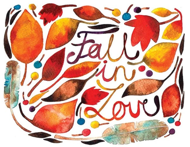 Fall In Love Watercolor Illustration Print Brown Orange Yellow Autumn Feather Leaves Nature Home Decor Calligraphic Alphabet