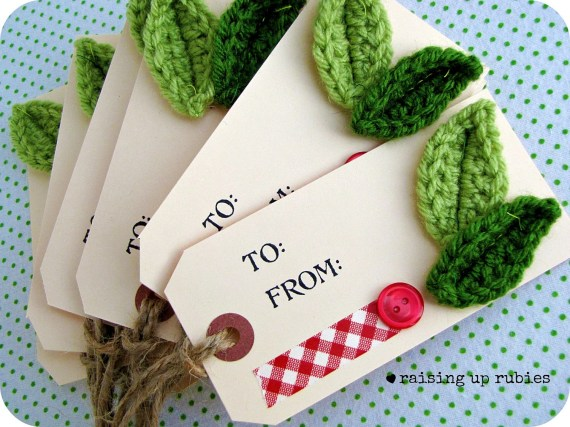 """Hand Stamped """"To and From"""" tags/ Christmas Gift Tags - Crochet Embellishment - set of 6"""