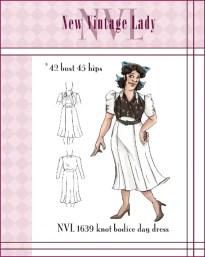 NVL 1930s knot bodice day dress 42 bust PLUS SIZE