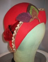 Antique 1930s Flapper Ruby Red Wool Cloche Hat